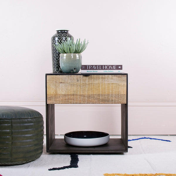 light and dark wood bedside table