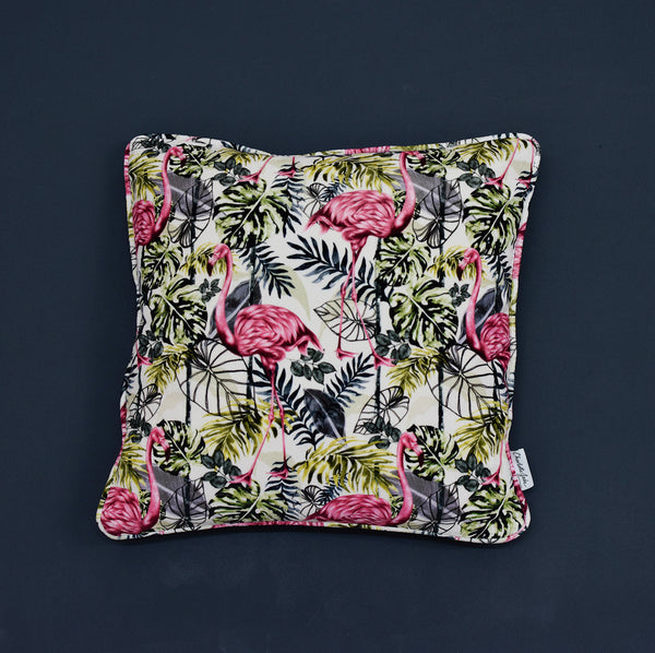 velvet flamingo cushion
