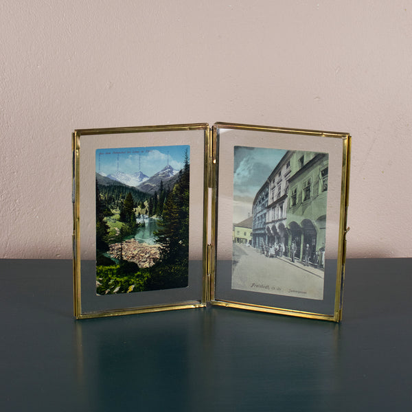 folded antique brass frame