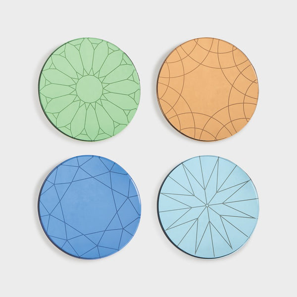 multicolour mirror coasters set of four