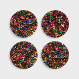 carnival glitter coasters set of 4
