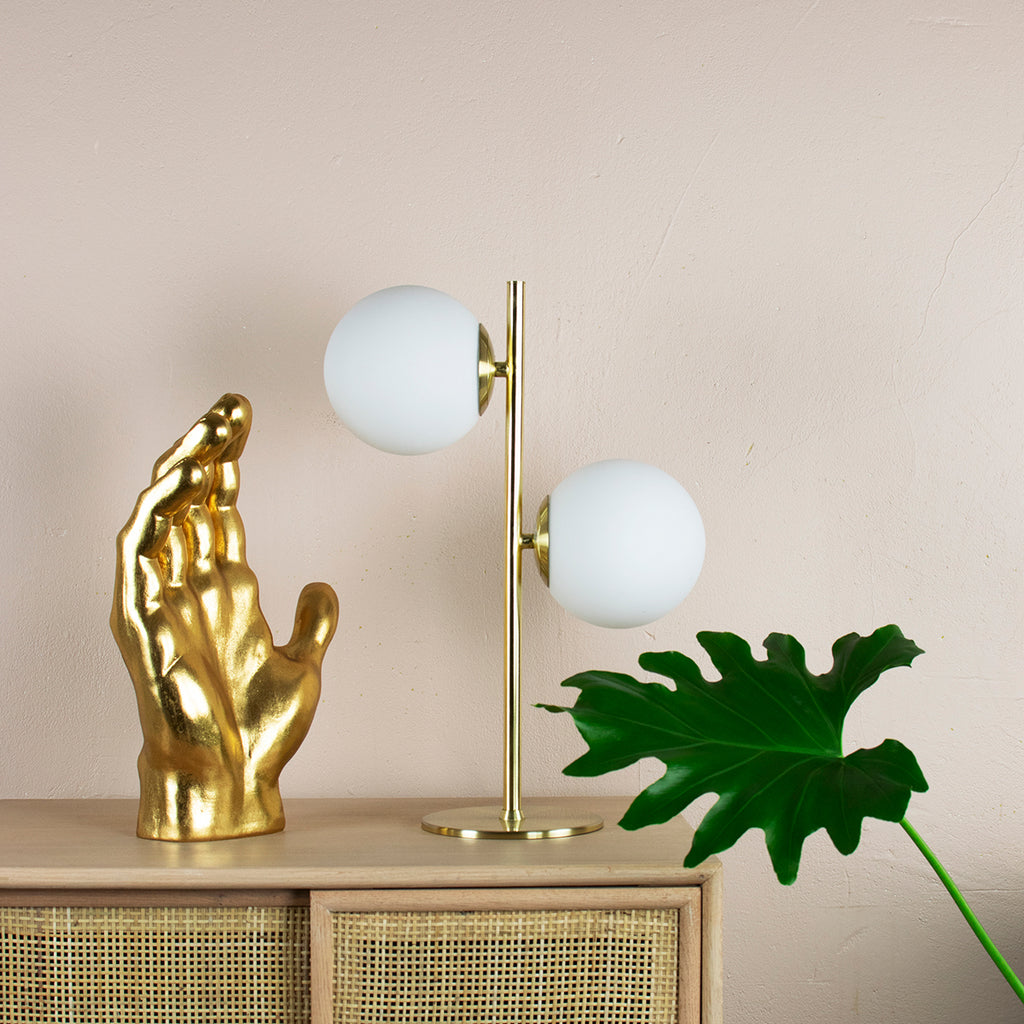 gold and white orb table lamp