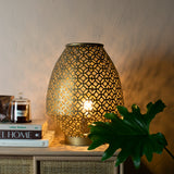 gold table lamp close up