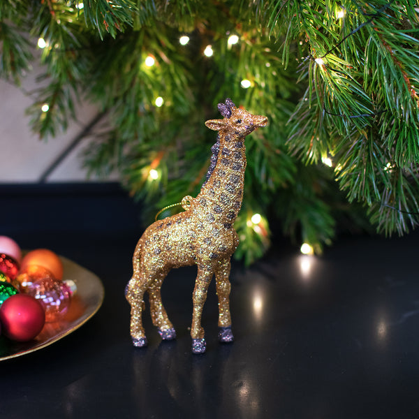 gold glitter giraffe Christmas tree decoration