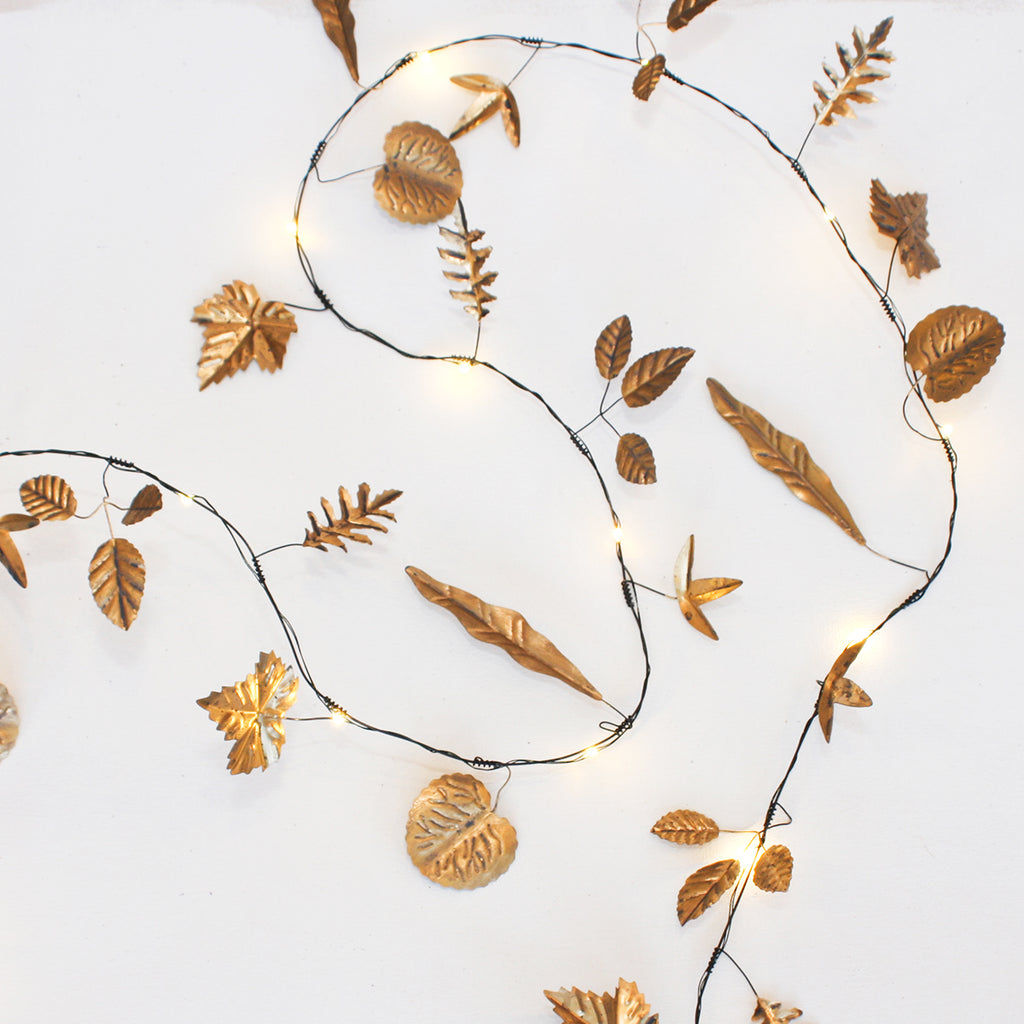 gold leaves twinkle lights decoration