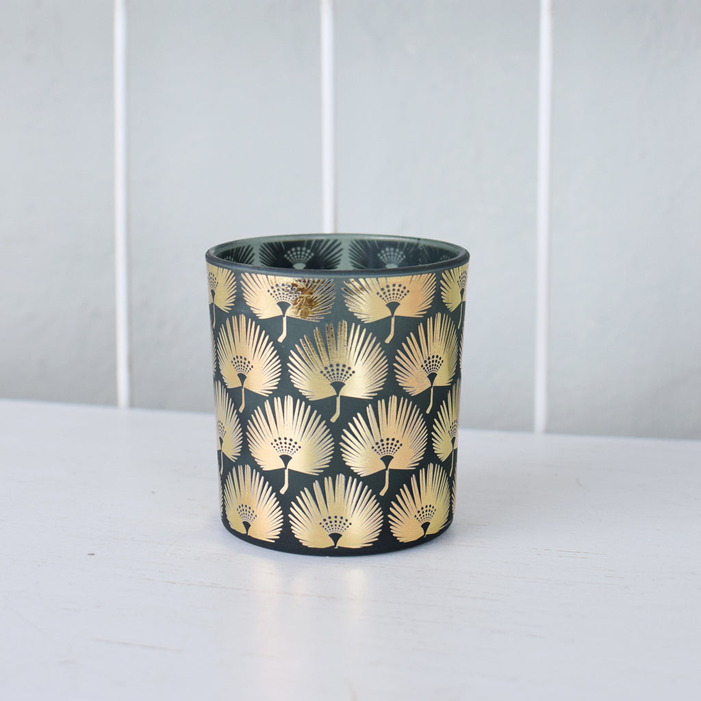 gold palm leaf tealight holder