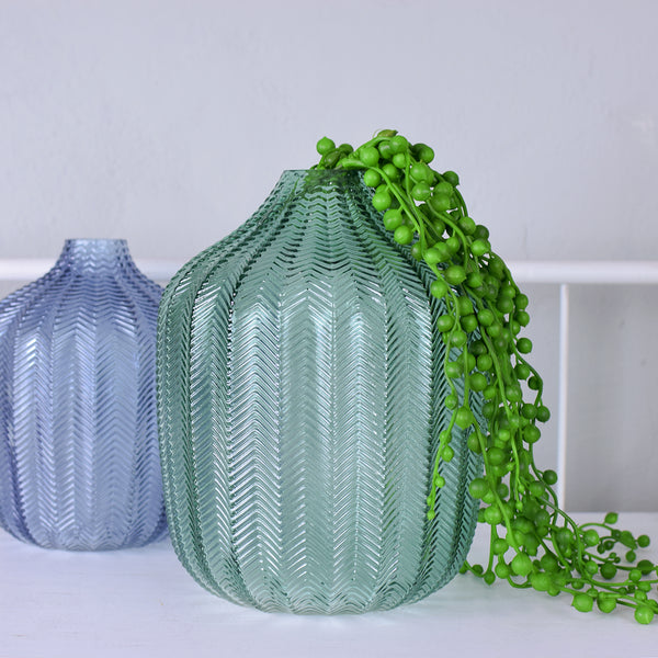 green glass chevron vase