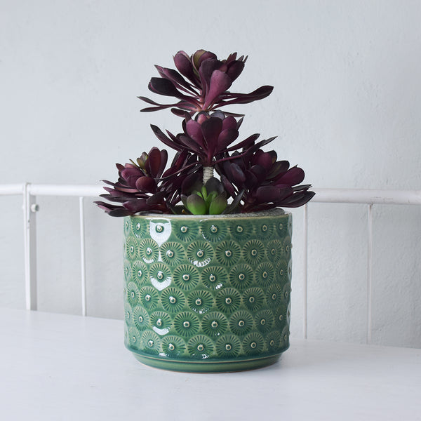 green daisy planter