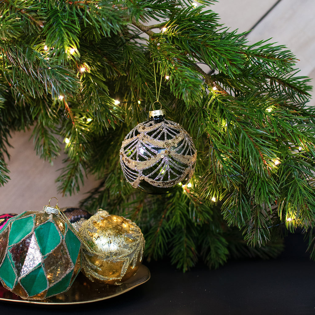 green glass bauble with gold sequins