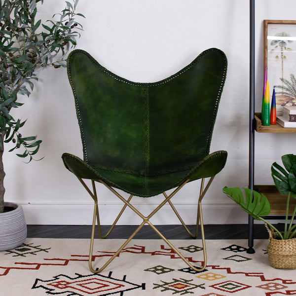 green leather butterfly chair