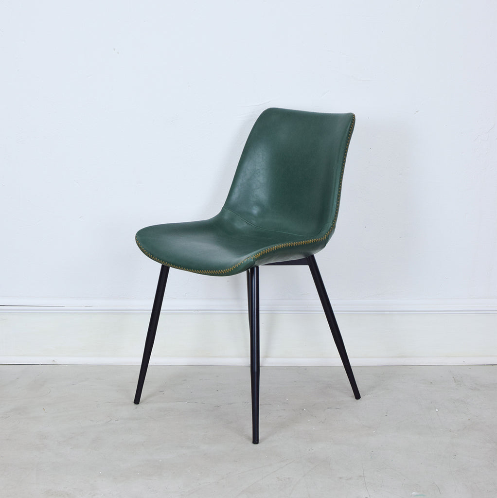 green leather dining chair