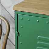 green metal cabinet close up