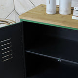 green metal cabinet interior
