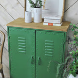green metal cabinet wood top