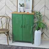 green metal cabinet front