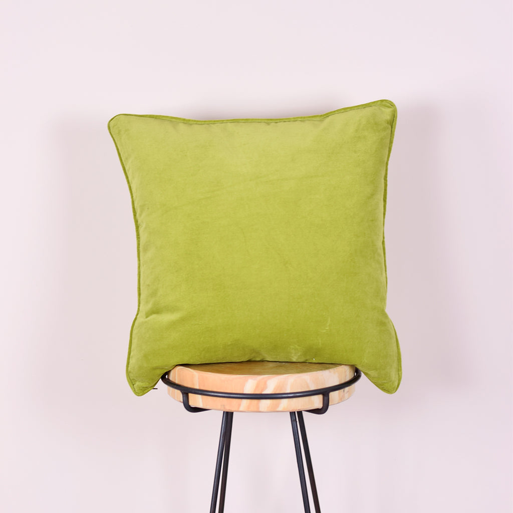 Salad Green Velvet Cushion