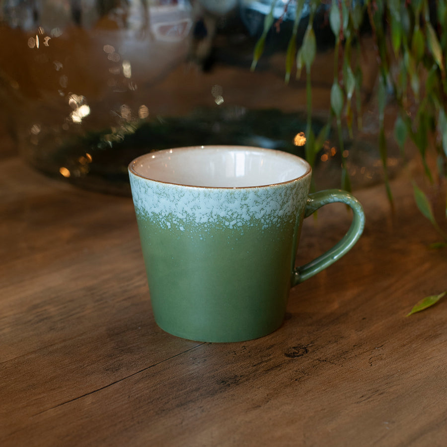 green 70s cappuccino cup