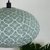grey lotus cotton oval pendant shade close up