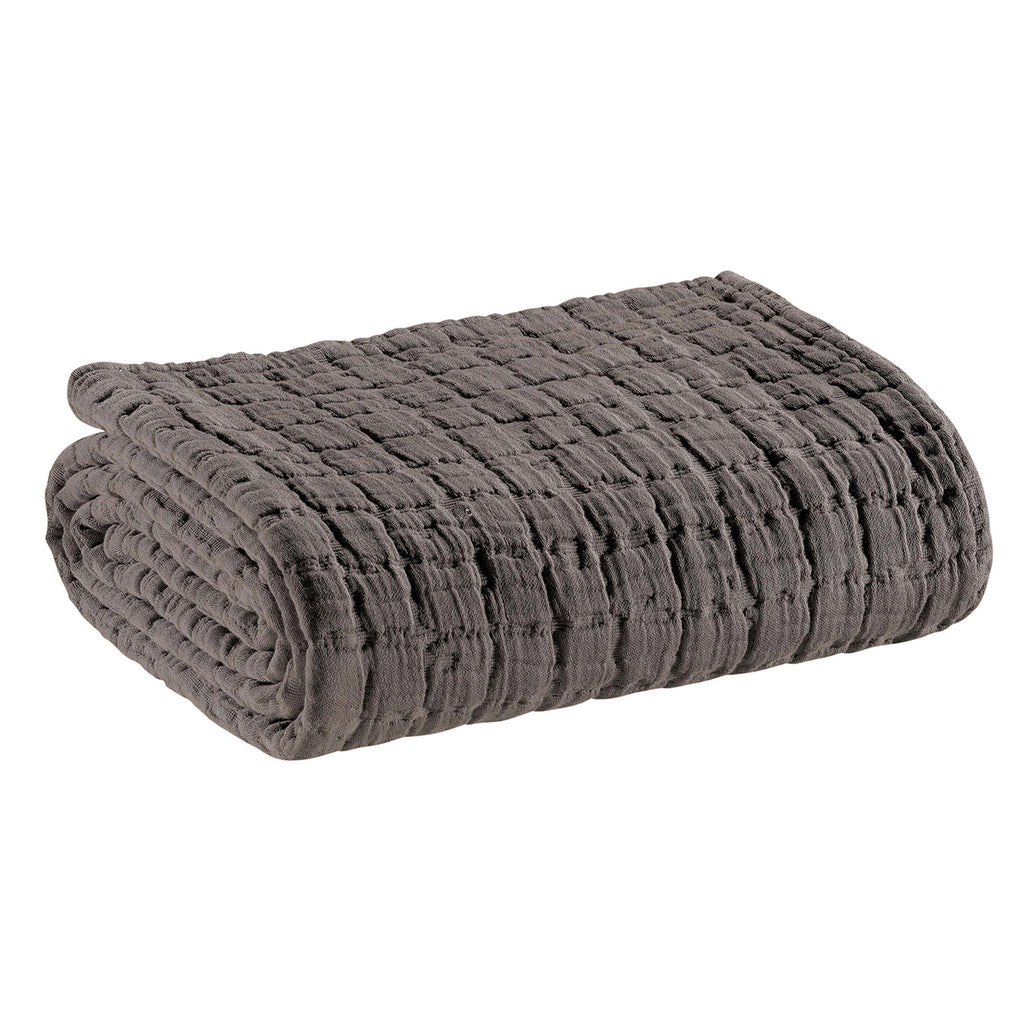 stonewashed cotton throw in grey