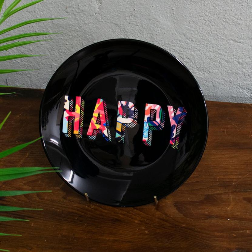 black floral happy plate