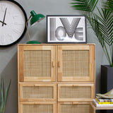 hevea wood rattan cabinet with 4 drawers