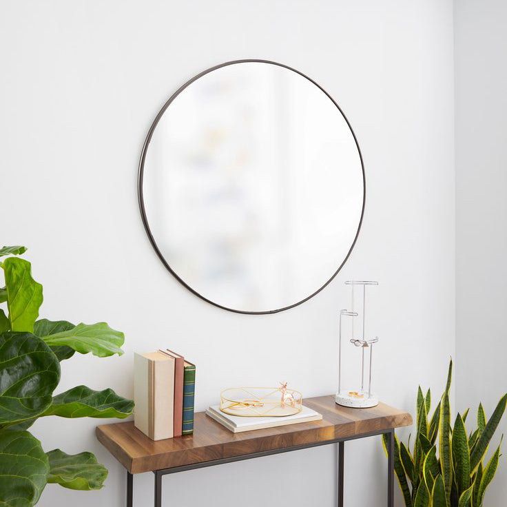 pewter wall mirror 34""