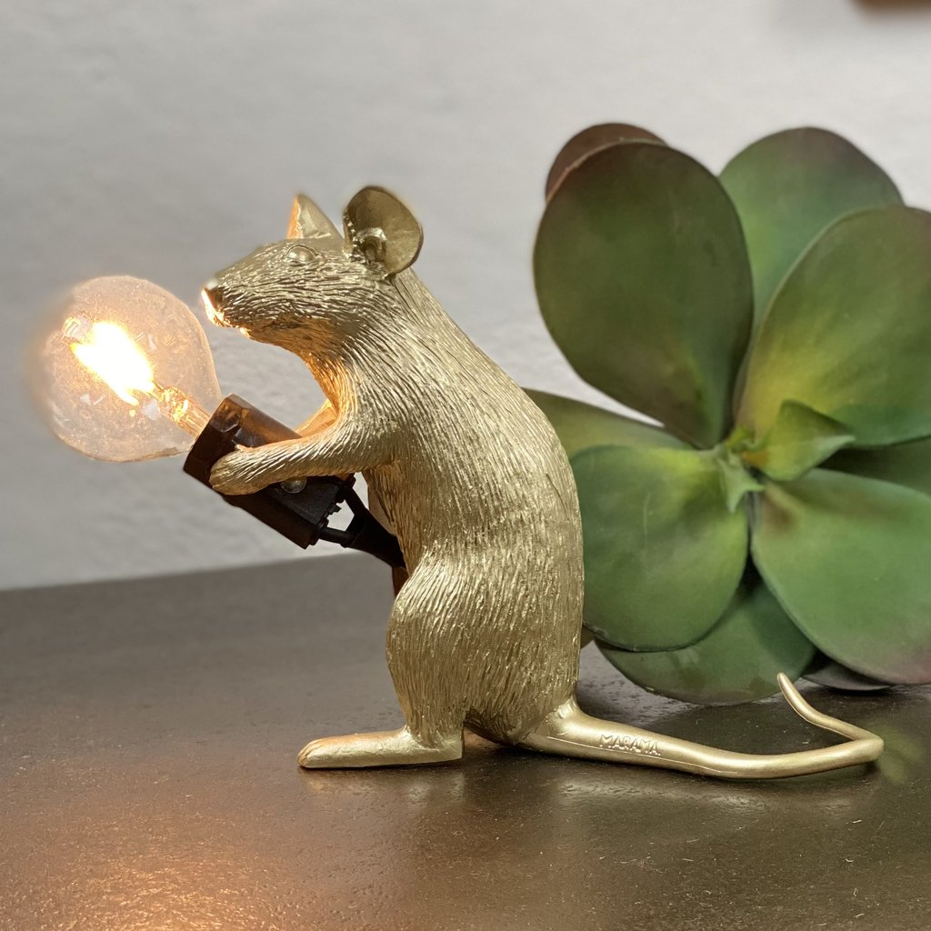 Gold Mouse lamp Seletti