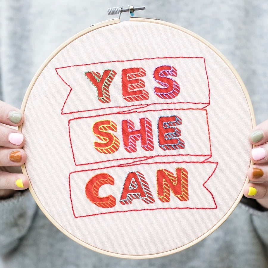 Yes She Can Embroidery Hoop