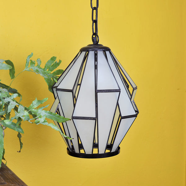 black iron and frosted glass hanging lamp