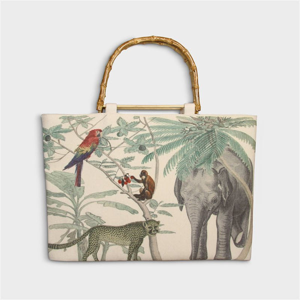 jungle cotton tote bag with bamboo handles