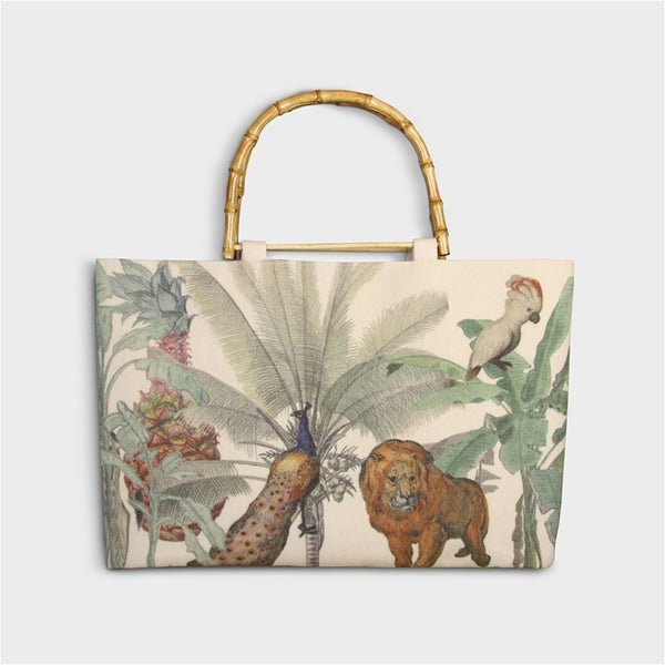 jungle lion bag with bamboo handles