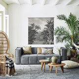 jungle wall hanging above sofa