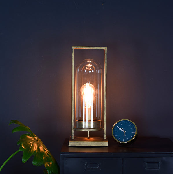 bronze lantern table lamp