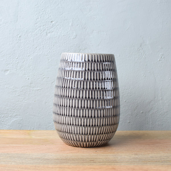 large grey ceramic vase