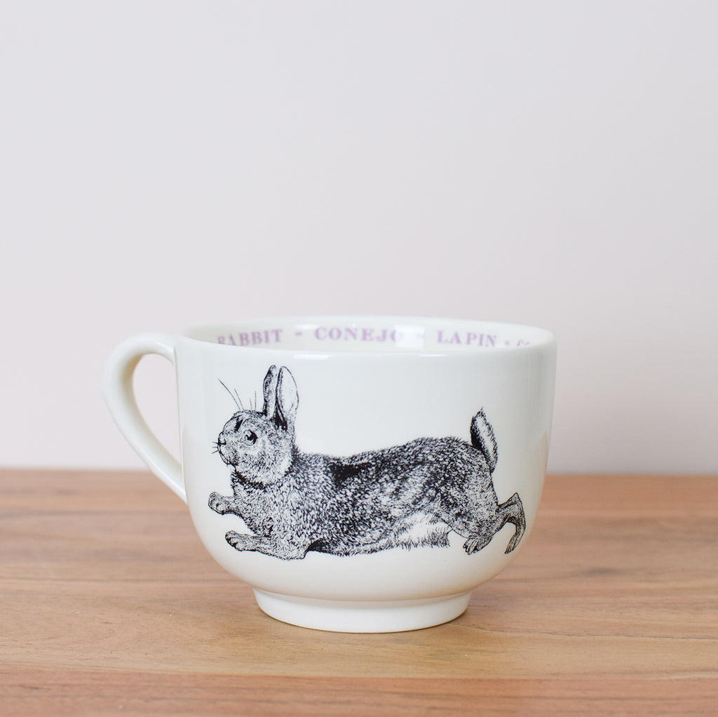 oversized cup with rabbit illustration