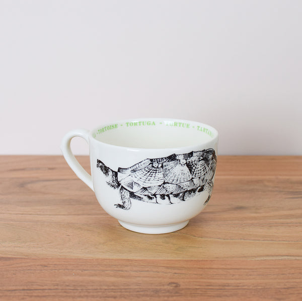 oversized tortoise coffee cup