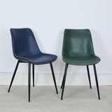 leather dining chairs in blue and green