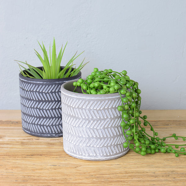 light grey concrete planter