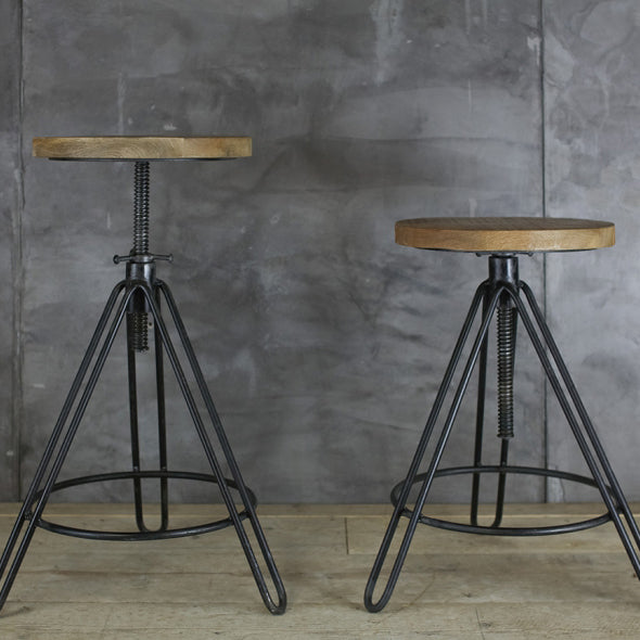 mango wood industrial stool