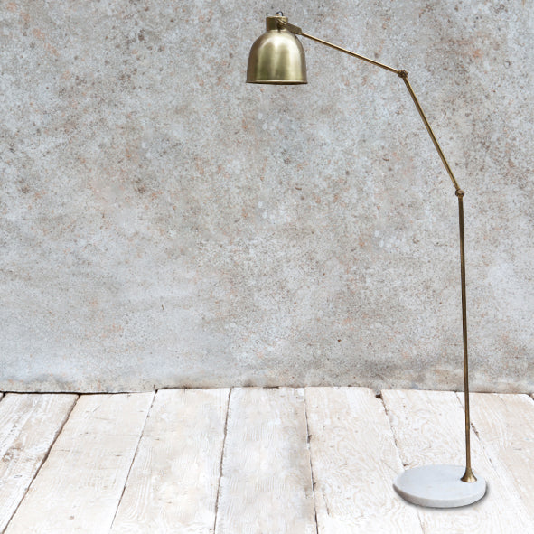 marble and brass floor lamp