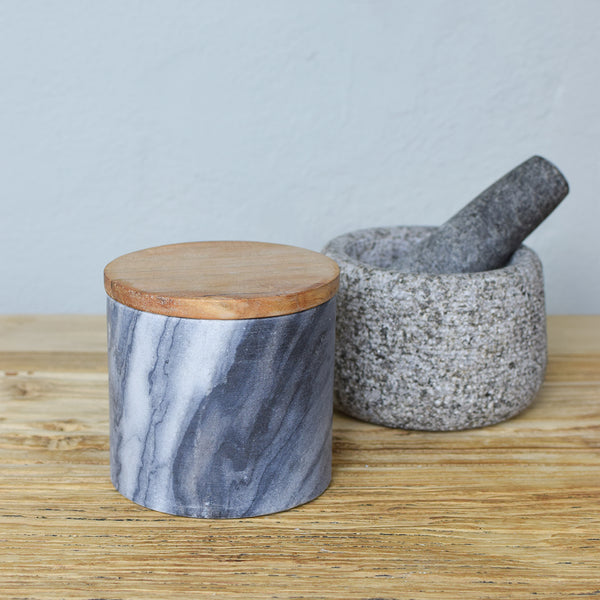 marble and wood lid storage jar