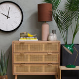 rattan chest of drawers close up
