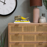 rattan chest of drawers with gold metal handles