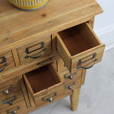 reclaimed pine multi drawer unit close up