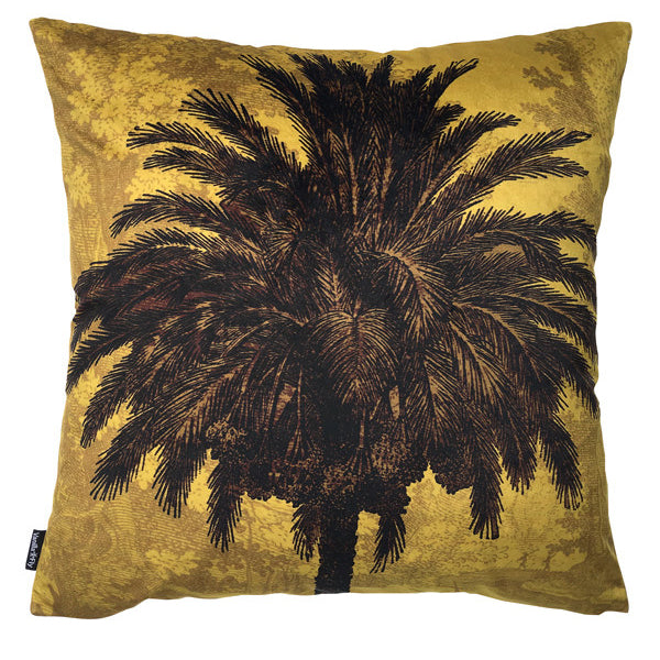 mustard palm velvet cushion