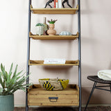 narrow ladder shelves and drawer