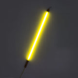 yellow neon tube light lit up