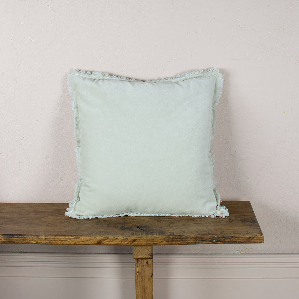 creamy off white velvet cushion