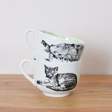oversized cups with vintage illustrations
