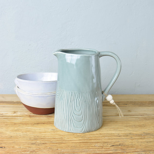 wood effect stoneware jug